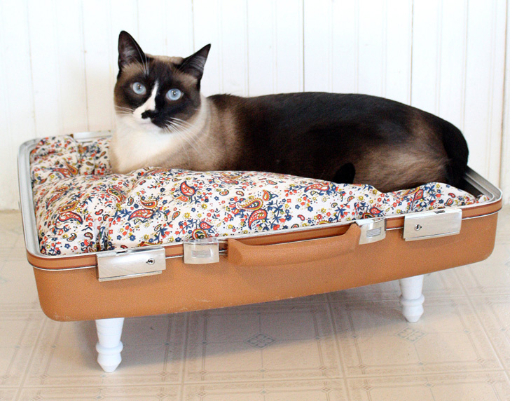 Keep Your Kitty Cozy in These Upcycled Vintage Suitcase Beds ...