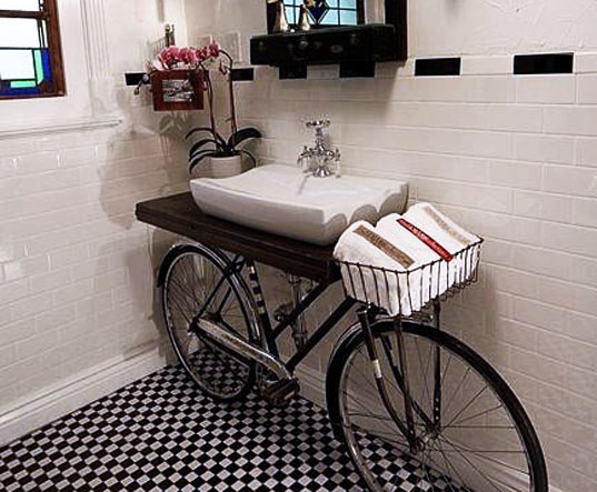 Bike Sink, Benjamin Bullins, found object, upcycled materials, green interiors, vintage bike