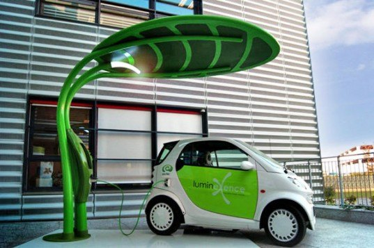 Lotus Solar EV Charger, electric vehicle charger, leaf ev charger, leaf-shaped streetlight, solar streetlight, led streetlight, green design, sustainable design, green transportation, leaf-shaped ev charger, electric car, electric vehicle