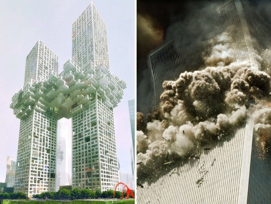 The Cloud by MVRDV, mvrdv, mvrdv controversy, mvrdv twin towers, 911, twin towers, twin towers cloud, world trade center attacks, new york city terrorist attacks, 9/11 attacks