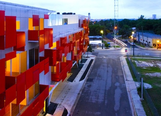 Bercy Chen, Bercy Chen Studio, Austin, Texas, East Village, Mixed-Use development, solar power, photovoltaic panels, green roof, vertical screen, rainwater capture, passive insect control, insulation, energy efficiency, green design, sustainable design, eco design