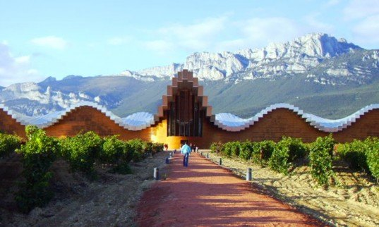 architecture, green design, eco design, sustainable design, winery, bodega, santiago calatrava, bodega ysios, ysios winery ysios, wineries, green wineries, eco wineries, wine, spain, spanish architecture, sierra de cantabria, cedar buildings, cedar wineries