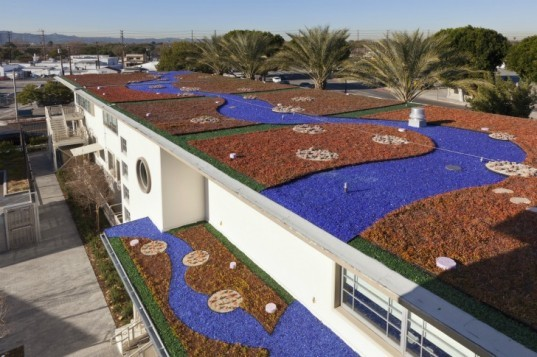 Heliphoto, AHBE, SITES, LEED, BWP, industrial renovation, sustainable rejuvenation, green rooftops, solar power