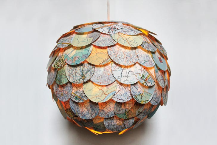 Beautiful Artichoke Shaped Pendant Lamps Made From Recycled Novels Maps And Magazines