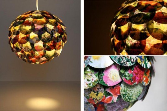 Recycled Home Decor beautiful artichoke-shaped pendant lamps made from recycled novels