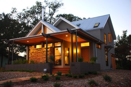 Gabled leed platinum newcomer house in georgia cost just for Leed home plans
