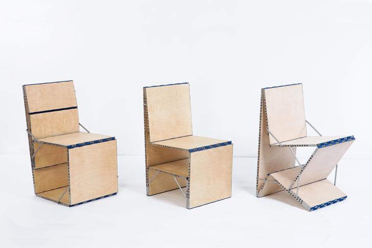 Multifunction Furniture loop: multifunctional piece of furniture transforms into a chair