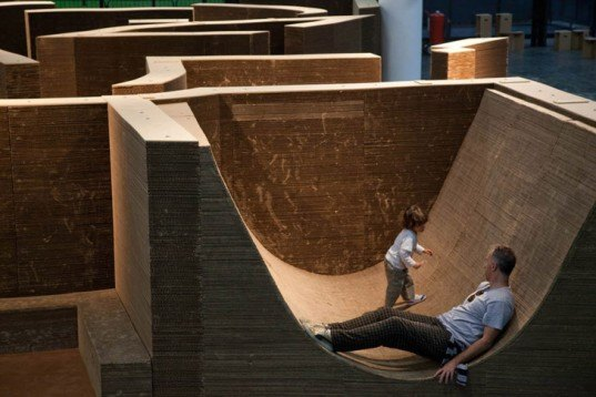 Carlos Teixeira Layered Cardboard Labyrinth Installation 1