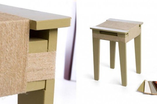 green furniture, no glue no screw, dutch design, warapped furniture, wrapped stools, biodegradable rope, flat pack furniture,Design Academy in Eindhoven,