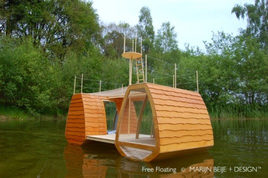 Free Floating, Marijn Beije, floating eco lodge, mini eco lodge, mini cabin, floating cabin