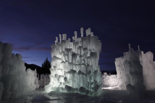 green design, eco design, sustainable design, Silverthorne Ice Castle, Brent Christensen, Colorado Ice Castle, sustainable ice castle, free standing ice castle, snow castle, ice structure