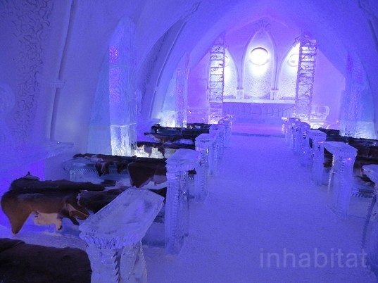 green design, eco design, sustainable design, ice hotel, Hotel de Glace, Quebec City, snow hotel, The Northern Quebec, ice carvings, winter hotel, LED lights, ice bar