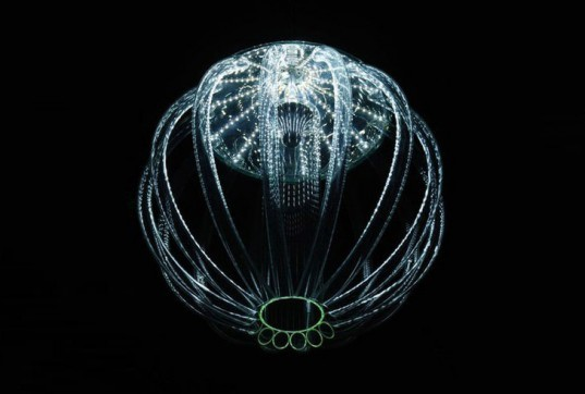 Jellyfish Chandelier, Skyphos 1, Kateřina Smolíková, led lighting, student lighting designs, green lighting, jellyfish inspired designs, deep sea inspired designs, green designs, eco lighting, led lighting, low energy lighting, energy efficient lighting