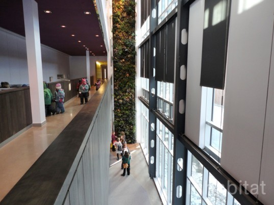 green design, eco design, sustainable design, Center for Sustainable Development, Montreal Maison Du Developpment Durable, living wall, Marie-Claire Blais, glass powder concrete, salvaged wood, green roof, Equiterre