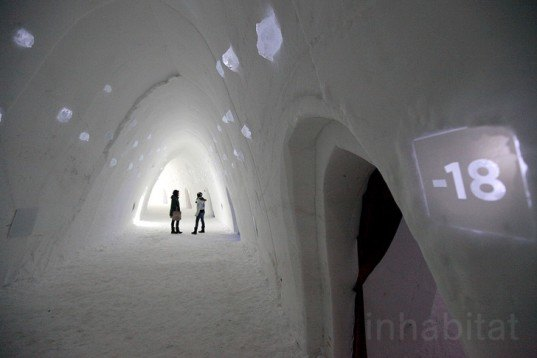green design, eco design, sustainable design, Montreal Snow Village, Ice Hotel, Tourism Board of Montreal, Parc Jean-Drapeau, St. Helen Island, Biosphere Environmental Museum, Pommery Ice Restaurant, Amarula Ice Bar, Chef Eric Gonzalez, Ice Palace, igloo, Hotel de Glace, Quebec