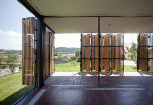 OV-A, OV-A architects, OV-A Family House, green architecture, eco architecture, moden czech architecture, modern european architecture, eco architecture, wood shutters, wood shutter facade, folding facades, glass houses