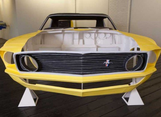 jonathan brand, paper mustang, paper art, paper artwork, green art, sustainable art, low impact art, car art, car design, green car design, brand, one piece at a time, life sized replica, 1969 ford mustang, paper ford mustang