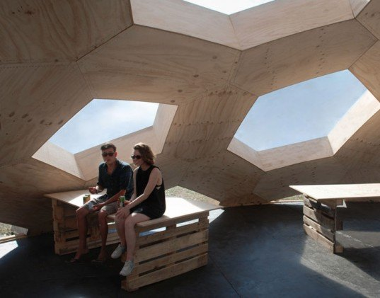 geodesic dome, roskilde festival, Kristoffer Tejlgaard, Henrik Almegaard, danish design, hexagon lattice, plywood hexagons, interconnected shapes, reused structure
