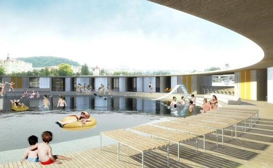 Swimming Pool, Floating pool, water filtration, Vltava river, Andree Kubna, prague