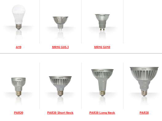 LED replacement,LED bulbs, LED replacement Halogen, LED spot, LED m16, LED par38, LED par 30, LED for lighting designers, Toshiba LED lighting, eco lighting,