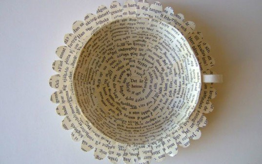 art, recycled art, green art, eco art, sustainable art, cecilia levy, swedish artists, tea cup art, recycled books, book art, green books, green tea cups, recycled materials, salvaged materials, paper products, paper art, recycled sculpture, green sculpture, eco sculpture