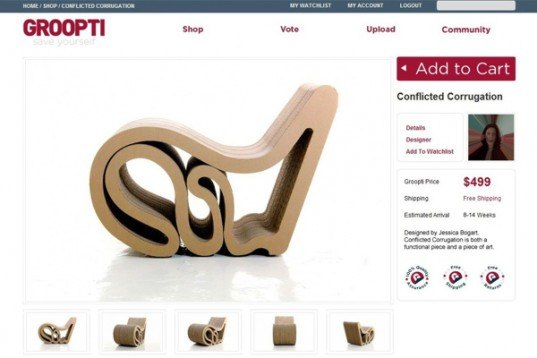 groopti, recycled furniture, manufacturing, low volume, product design, crowd sourcing, cardboard furniture, product launch, eco, green, sustainable