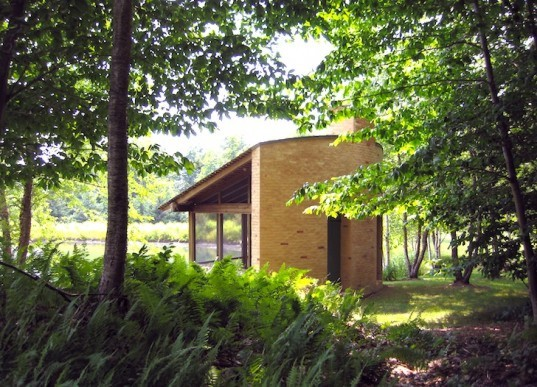 tiny homes, meditation pavilion, david coleman, pond, cabin, green design, vermont, green mountains, sustainable design, eco design, sustainable architecture, minimalist design, minimalist, cedar, woodland, rumford fireplace, forest