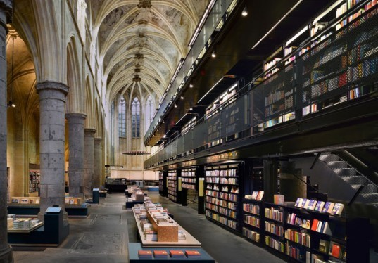 awesome libraries, awesome bookstores, amazing libraries, amazing bookstores, famous bookstores, eco bookstores, green books stores, renovated bookstore, sustainable design, green design, adaptive reuse, renovation, green building, cathedral, Selexyz Domincan Church Maastricht, open air library, karo architects, public library, book sharing, east germany, magdeburg, post-industrial renovation, recycled materials, beer crate library, ateneo bookstore, el ateneo, ateneo, renovated theater, renovated theater bookstore, bookstore in theater, phone box library, westbury sub mendip, public spaces, van alen books, van alen bookstore, van alen bookstore opening, van alen institute, LOT-EK, Olympia Kazi, public reading space nyc, nyc forum, public space nyc, the bicycle library, bicycle library, bike library, bike rental, rent a bike, repurposed double decker bus, recycled double decker bus