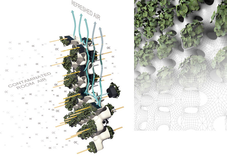 Active modular phytoremediation system inhabitat green for Living wall systems