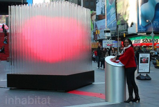 BIG Heart NYC Times Square, big heart sculpture, big, bjarke ingels group, times square, led art, led light sculpture, pulsing h