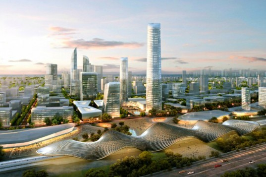 Beijing Bohai Innovation City, SOM, satellite city, eco city, china, high speed rail, pedestrian friendly