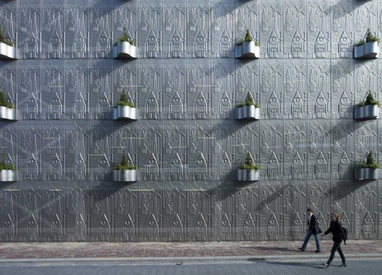 MEI Architecture, Netherlands, Flevoland Province, Almere, urban expansion, Block 11, parking lot, perforated parking lot, green design, sustainable design, eco design, natural ventilation, daylighting, culture, hanging plant containers, green