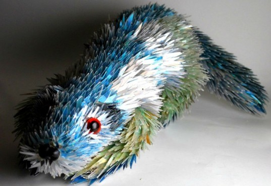 CD Animal Sculptures, Sean Avery, old cds, cds, cd sculptures, recycled materials, animal sculptures, eco art