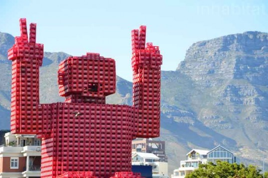 coca-cola, crate man, elliot, coke crates, plastic crates, recycled materials, recycling initiatives, recycled materials, PET, plastic recycling, can recycling, green design, sustainable design, eco-design, cape town, V&A Waterfront, Table Mountain