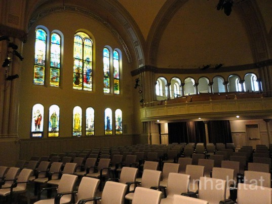 green design, eco design, sustainable design, Romanesque Revival, Bourgie Concert Hall, Montreal, The Montreal Museum of Fine Art, adaptive reuse, salvaged church, Provencher Roy and Associates, Arte Music Foundation, Alexander C. Hutchinson, Tiffany stained glass, museum expansion, Canadian artists