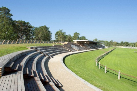 green roof, green stadium, green design france, horse training, wooden stands, green stable, green horse grounds, embedded architecture