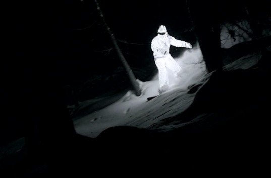 Jacob Sutton, Glowing Man, Video, LED lights, William Hughes, Nowness, John Spatcher, Tignes, France, snow, night, green design, sustainable design, green lighting, video, eco-design