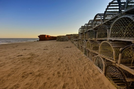 A Thousand Traps to Escape, lobster cages, Laval University, Krystina Tremblay, Olivier Lord, green design, sustainable design, temporary pavilion, community, communal space, public space, Quebec, Canada, Magdalen Islands, recycled materials, BOURGEOIS / LECHASSEUR ARCHITECTES
