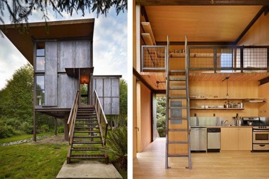 Floating Houses, Prefab Housing, Green Holidays, Sustainable Building, fishing shelter, Prefab materials, minimal ground impact, washington, Sol Duc Cabin, Olson Kundig Architects,low impact housing,