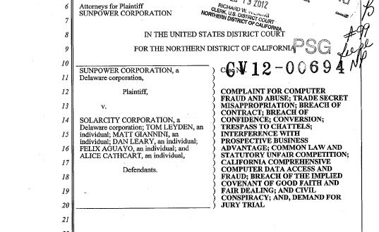 Solar power, solar lawsuit, corporate espionage, solarcity, sunpower, largest solar company,