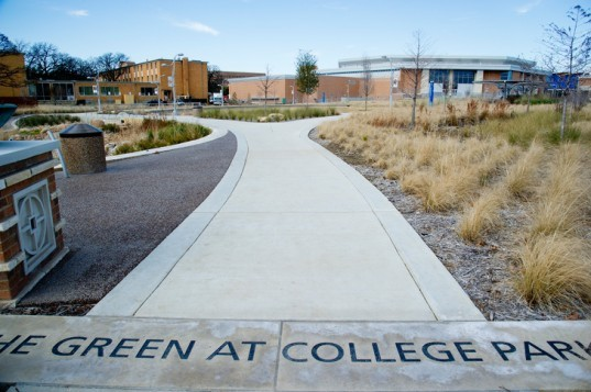 The Green at College Park, UT at Arlington, sustainable sites initiative, sustainable landscape, SITES, green landscape