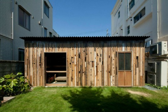 Wall of Zudaji, 403architecture, recycled materials, reclaimed wood, leftover materials, scrap wood, wood shed, japan