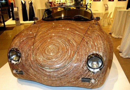 eco design, natural materials, coconut flower stalks, movement-8 design, filipino furniture, clayton tugonon, car exterior, porsche 356, recycled materials, termite mounds