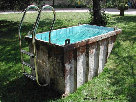 louisa dawson, dumpster pool, trash can pools, kiddie pools, portable pool, skips, skip pools, green pools, portable swimming pools, eco swimming pools