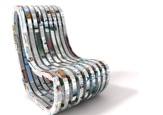 PaperChair, green furniture, green interiors, green design, eco design, recycled newspaper furniture, recycled newspaper chair, eco-friendly chair, Faculty of Architecture in Slovenia, Peter Plantan, Nusa Zupanc, Architecture Workshop AWR Awards