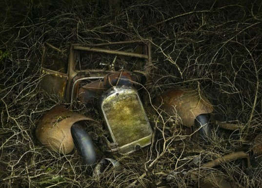 Parking Paradise, vintage cars, abandoned cars, photography, Peter Lippmann, green design, sustainable design, eco design, art, eco-art, green art, environmental art, automobiles, France, Gallery Sophie Maree, Brussels
