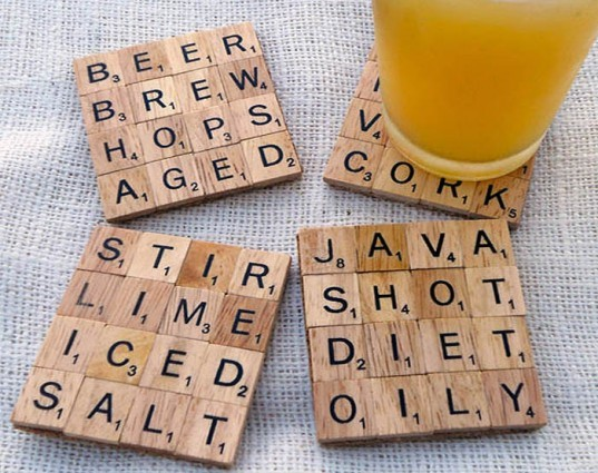 scrabble coasters, recycled scrabble tiles, scrabble designs, recycled materials, eco coasters, green coasters, eco home decor, scrabble coaster designs, customized scrabble designs