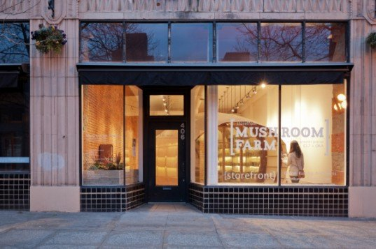 Olson Kundig Architects, citylab7, mushroom farm storefront, urban farming, community project, community farm, city agricultural production, mushroom harvesting