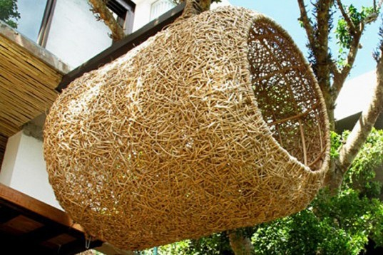 Cape Town, Porky Hefer, human Nest, bark cocoon, biodegradable cocoon, stilts, weaverbirds