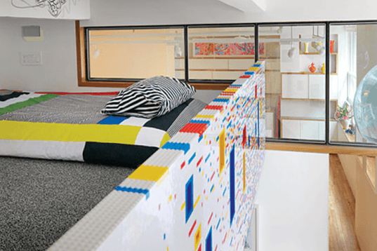I-Beam, Sean Kenney, Marks Residence, NYC apartment, pixelated apartment, LEGO stair railing, LEGO wall